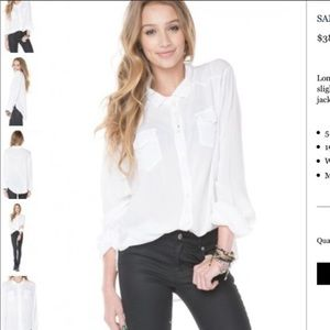 Brandy Melville white collared button blouse